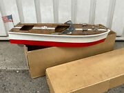 Vintage Japan Riva Speed Boat Battery Operated Wooden Pond 1950's Nos And Box 2