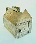 Beautiful Antique Silver Charity Box Shape Of A House Engraving In Hebrew
