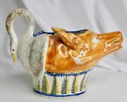 Late 18th C Staffordshire Pearlware Pottery Fox Goose Sauce Boat - 83284