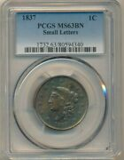 1837 Coronet Head Large Cent-small Letters-pcgs Ms63 Bn-gorgeous Ships Free