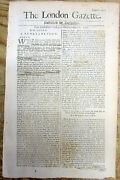 1708 Newspaper W Queen Anne Proclamation Of Planned Invasion O England By France