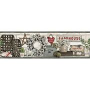 York Wallcoverings Farmhouse Shelf Border - Black |spray With Water And Hang ...