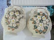 Antique Pair Of Oriental Vases With Ducks On Sides Leaves, Flowers White, Yellow