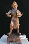 29.6 Antique China Bronze Stand Guan Gong Yu Warrior God Hold Broadsword Statue