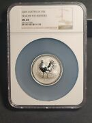 2005 2 Oz Silver 1 Australia Year Of The Rooster Bu Lunar Series I - Ngc Ms 69
