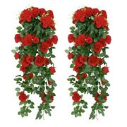 Artificial Rose Fake Flowers Hanging Plant Wall Home Balcony Basket Decor Pack