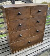 Antique 19th C. 7 Drawer Apothecary/spice Chest, Dovetailed, Original Paint Aafa