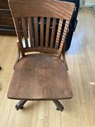 Antique Milwaukee Solid Oak Wood Rolling Swivel Banker Office Chair Casters.
