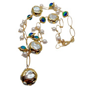 24'' Freshwater Cultured White Keshi Pearl Blue Murano Glass Pendant Necklace