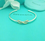 And Co. Rare Large 18ct Rose Gold And Silver Infinity Bangle Cuff Bracelet