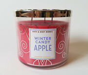 Bath And Body Works Winter Candy Apple 3 Wick Scented Candle Glass Jar 14.5oz New