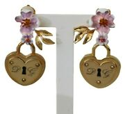Dolce And Gabbana Earrings Gold Brass Padlock Floral Clip-on Dangle Rrp 650