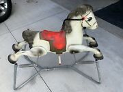 Vintage Mobo Pressed Metal Spring Mounted Rocking Horse 1950 - 1960 From England