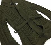 Vtg Blue Label Cashmere Wool Military Army Cable Sweater Cardigan L