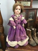 Antique Knauth 2/0 German Bisque Doll Amazing Outfit Human Hair Wig Petite