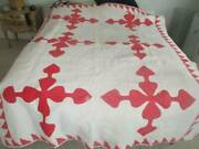 Antique Faded Red/ Rose Colored Hand Stitched Quilt Great Cutter