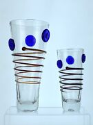 Pair Of Blenko Glass Coil And Star Vases In Crystal Signed