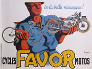Favor Bicycle And Motorcycle Original Vintage Poster 1937 By Bellenger