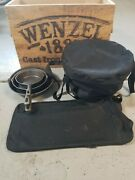 Wenzel 1887 Cast Iron Cookware Set Dutch Oven W/lid Griddle And 3 Skillets + Crate