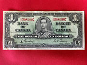 1937 Canada Paper Money - One Dollar Banknote