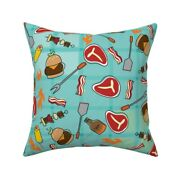 Summer Bbq Cookout Grill Meat Throw Pillow Cover W Optional Insert By Roostery