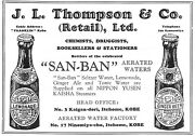 1934 Advert, J. L. Thompson And Co, Bottlers Of San-ban Aerated Waters, Kobe Japan