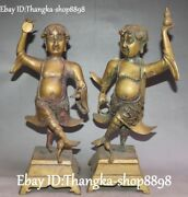 14antique China Pure Bronze Ancient Person Hold Gourd Stand Pair Holder