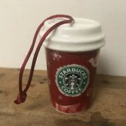 Starbucks 2008 Holiday Red Cup Ornament Snowflakes Dove And Reindeer