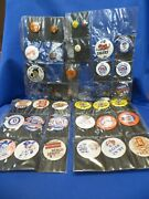 35 Detroit Tigers Pins Buttons And Others 1965 1984 World Series 10,000 Game Etc.