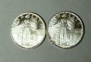 Lot Of Two 1/4 Oz .999 Fine Silver Rounds Standing Liberty Quarter Design Style
