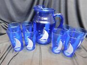 Depression Cobalt Blue Sail Boat And Seagulls Pitcher And 8 Tumblers