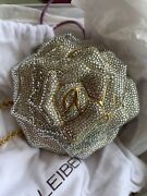Judith Leiber White Rose Bag Crystal Minaudiere Clutch Gold Silver New