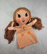 Vintage Hand Made Paper Mache Hand Puppet Girl Pigtails Freckles