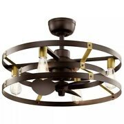 13-inch Led Indoor Satin Natural Bronze Ceiling Fan With Light With Wall Switch