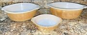 3 Vintage Anchor Hocking Fire King Peach Luster Casserole Dishes Bowls 447 467