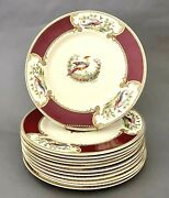 Collection Of 12 Vintage Dinner Plates Chelsea Bird Red By Myott Staffordshire