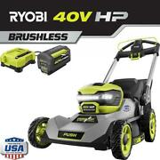 Cordless Walk Behind Push Lawn Mower Kit 21 Inch 40-volt W/ Battery And Charger