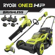 Cordless Walk Behind Push Lawn Mower/trimmer/blower Combo Kit With 3 Batteries
