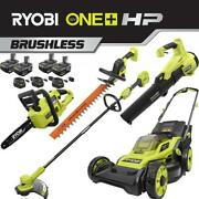 Cordless Walk Behind Push Lawn Mower/trimmer/blower/hedge/chainsaw 4 Batteries