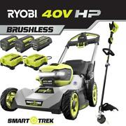 Cordless Walk Behind Dual-blade Self-propelled Lawn Mower And String Trimmer Kit