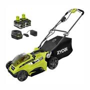 Cordless Walk Behind Push Lawn Mower 16 Inch 18 Volt With 2 Batteries And Charger
