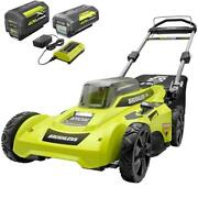 Cordless Walk Behind Push Lawn Mower 20 Inch 40 Volt With 2 Batteries And Charger