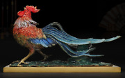 20old China Pure Bronze Gilt Fengshui 12 Zodiac Cock Rooster Chickens Statue