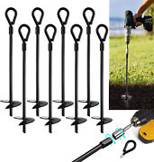 """15"""" Ground Anchors Pcs Easy To Use With Drill, 10mm Diameter, Heavy Duty 8"""
