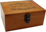 Vintage Wooden Storage Box With Hinged Lid Decorative Wood 10 X 7.5 X 4.5 Inch