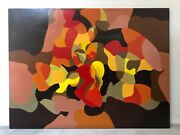 🔥 Antique Mid Century Modern Mexican 1976 Abstract Oil Painting