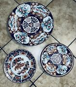 3 Lot Japanese Porcelain Gold Imari Handpainted Charger Plates 18 13 And 12
