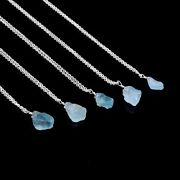 Pure 925 Sterling Silver Necklace Aquamarine Rough Chain Jewelry Fast Free Ship