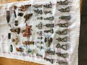 35 Lead Metal Cast Toy Soldiers Cannon Horses Lot Some Damged