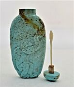 Old Fine Turquoise Snuff Bottle Hand Carved Monkey Tobacco Leaf Chinese